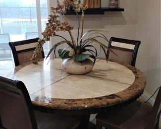 3 Solid Stone Round Dining Table and 4 Matching Chairs