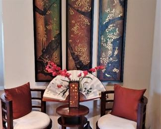 6 Asian Barrel Chairs, Table and Art