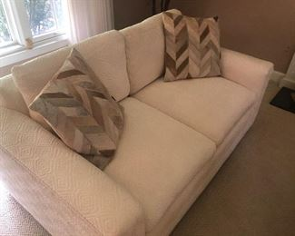 2-cushion Loveseat - matched set of 2 available - $400 each with leather-hide pillows