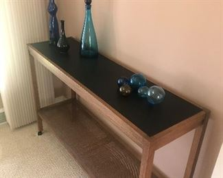 Mid-Century Console table - with can bottom shelf and on casters - $400,  and 3 glass vases and decanters $30 each