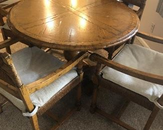 Game Table with center pedestal and 4 chairs - $750