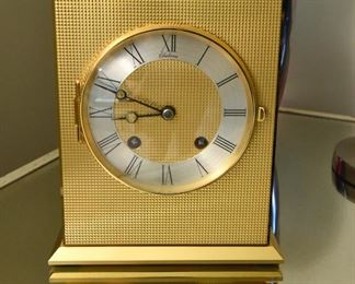 Chelsea Clock, runs. Eagle series, gold plated bronze. The key is present.