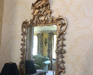 "Gold leaf mirror with a Heron on the top (58"" H x 25"" W) - $975  - 1 available"