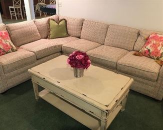 "Seven-piece plaid sectional with down pillows  - and one green corner pillow:  Length  89"" and 115 ""  Long x 35"" H x 35"" D - $2500, sofa/coffee table (46"" L x 26"" W x 21"" H) $275"