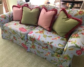 "2-Cushion Custom Couch with Down Back Pillows (85"" W x 40"" D x 30"" H) with 4 coordinating down pillows $2200"