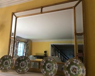 Large Gold leaf mirror - $850 and 4 decorative plates by Chelsea House - SET $150