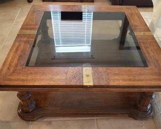 Wood and Brass Trim Coffee Table