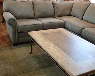 KING HICKORY SECTIONAL QUALITY CRAFTSMANSHIP / NEUTRAL EARTH TONE  TWEED  - SLATE AND IRON COFFEE TABLE