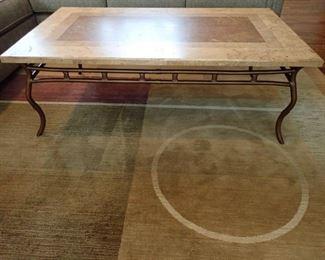 SLATE AND IRON COFFEE TABLE / 8' X 11' RUG