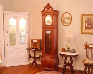 Corner Cabinet, Grandfather Clock, two small tables, piano chair