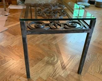 """Alternate view - Bronze and Glass Table - $300 - 20""""H x 48""""L x 18""""W"""
