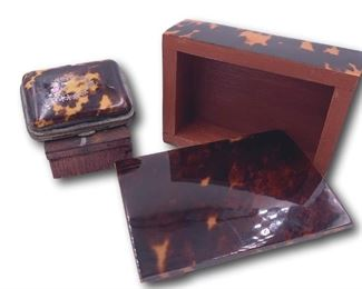 Pair of faux tortoise shell boxes. Bidding ends at 3 p.m. on 7-20-2020.  Register at https://auctions.mlestatesales.com.  Don't forget to check out our other auctions too!