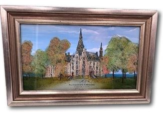 Reverse painted glass Northwestern University. Bidding ends at 3 p.m. on 7-20-2020.  Register at https://auctions.mlestatesales.com.  Don't forget to check out our other auctions too!