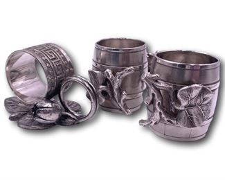 Aesthetic period silverplate napkin rings. Bidding ends at 3 p.m. on 7-20-2020.  Register at https://auctions.mlestatesales.com.  Don't forget to check out our other auctions too!