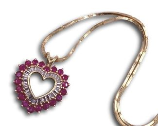 14K Gold, diamond and ruby heart pendant necklace. Bidding ends at 3 p.m. on 7-20-2020.  Register at https://auctions.mlestatesales.com.  Don't forget to check out our other auctions too!