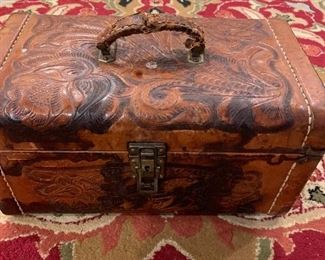 Antique leather ladies overnight case