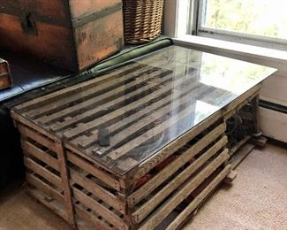 Vintage Marblehead lobster trap with glass top