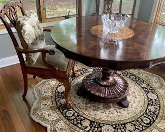 Highly Carved Mahogany Dining And Side Chairs  Chippendale style   ({All furniture in excellent cond. }Many Unique Wool Area Rugs sizes