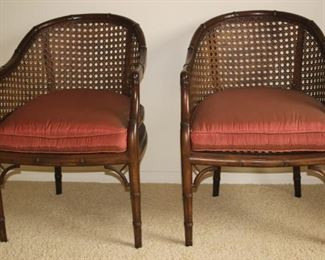 Two cane back chairs.