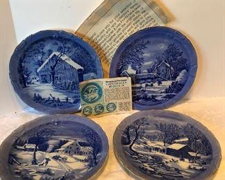 10D, Set of 4 Copenhagen Blue plates, $16/all