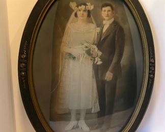 12D, Large oval convex glass framed wedding photo, $32