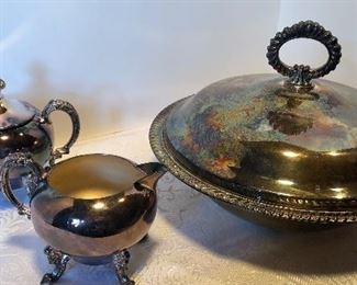 15D, Set of 3 silerplate pieces, glass liner in dish, $12/all