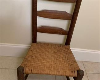 Vintage low chair rattan bottom