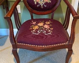 Antique needlepoint chair $125