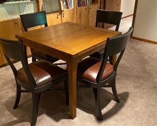 """Stickley flip top table - Four """"Asher Benjamin"""" side chairs (sold separately)"""
