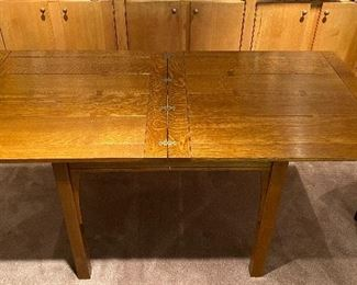 20% off of $1095  Stickley flip top table - flips square to half its size