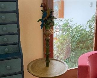 20% off of $175 Floor lamp/table with parrots & bamboo shade