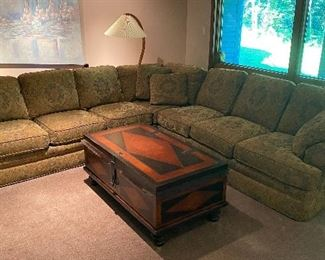 """Sherrill sectional sofa & Baker """"Milling Road"""" large storage chest/coffee table"""
