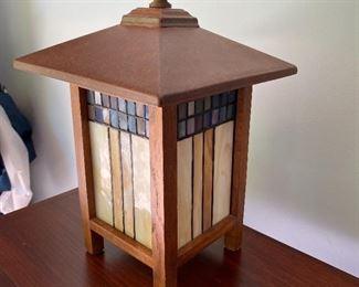 Arts & Crafts style lantern - glass & wood