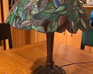 $95 Tiffany style lead glass lamp