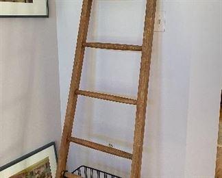 $75 Pottery Barn ladder - nice towel rack or linen display!