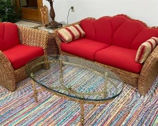 20% off of $295 Set - Vintage Wicker sofa chair & square table
