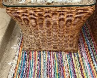 Part of Set - Vintage Wicker sofa chair & square table