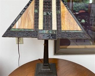 $95 Arts & Crafts style lamp - glass shade