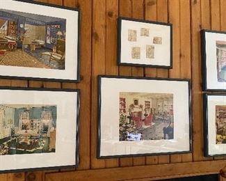 20% off of $135 ea. - Original c1940 watercolor illustrations from Armstrong Floors - Amazing detail!