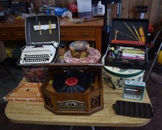 Typewriter, hat boxes, record player, art set, cast iron