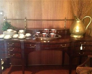 Exceptional wood and brass dining room server