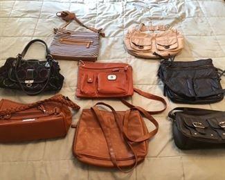 Many purses and women's clothing!