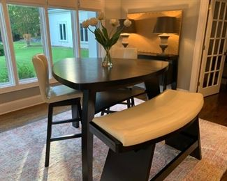 """Noah Chocolate 4 Pc Bar Height Dining Room With Vanilla Barstools     Bar Height Dining Table Dimensions: 54""""L X 54""""W X 41""""H Barstool Dimensions: Barstool: 18""""W X 17""""D 45.5""""H, Seat Height: 32""""H Bench Dimensions: 51.5""""W X 21.5""""D X 31""""H"""