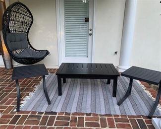 "Arhaus Stuart 44 inch Coffee Table  & 2  Arhaus Montego Side Tables  20"" W X 20"" D X 22"" H                                      Arhaus Hanging Chair"