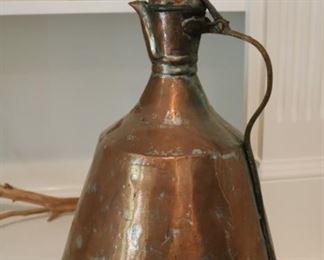"18"" Antique Hand Made Hammered Copper Pitcher Turkish"