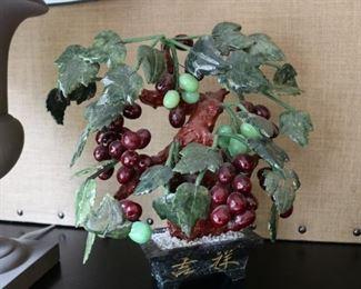 "Carved Jade Bonsai Grape Vine Tree 15"" x 17"""