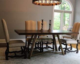 "Arhaus Nika Dining Table    Dimensions: 72"" W X 36"" D X 30"" H      4 Ballard Capistrano Chairs"