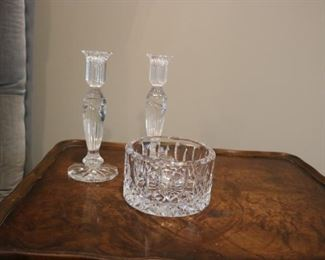 Waterford Crystal Champagne Coaster  & Candlesticks