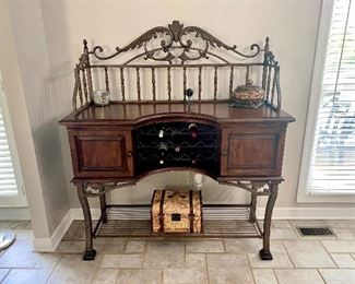 Iron and wood buffet with wine rack