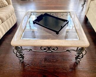 glass iron and marble coffee table and end tables